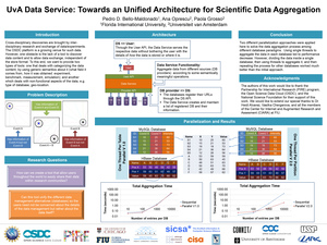 Uva Data Service: Towards an Unified Architecture for Scientific Data Aggregation Pedro D  Maldonado, 2013